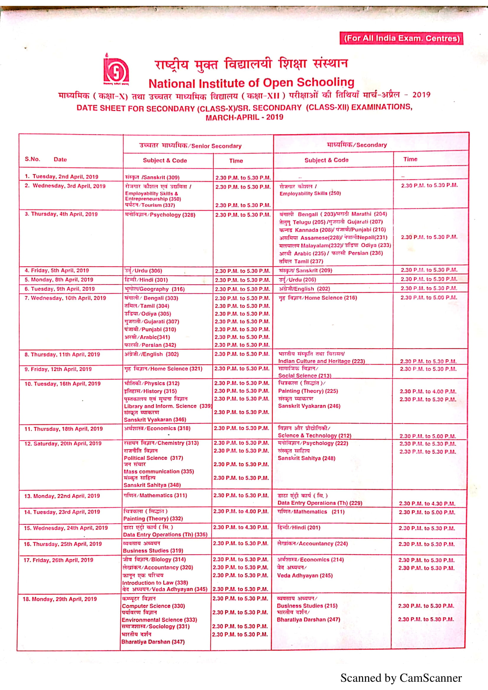 NIOS 10th & 12th Exam Schedule 2019
